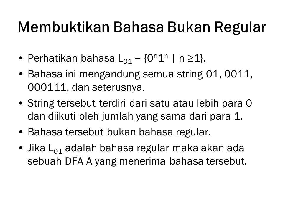 Membuktikan Bahasa Bukan Regular Perhatikan bahasa L 01 = {0 n 1 n   n  1}.