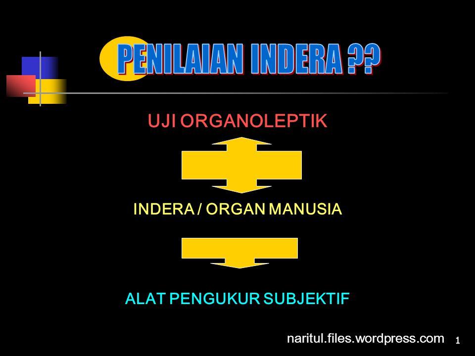 1 UJI ORGANOLEPTIK INDERA / ORGAN MANUSIA ALAT PENGUKUR SUBJEKTIF naritul.files.wordpress.com