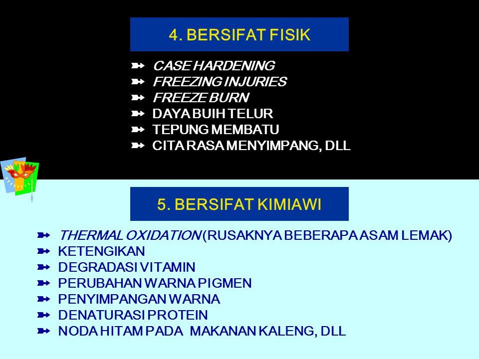 9 4. BERSIFAT FISIK ➽ CASE HARDENING ➽ FREEZING INJURIES ➽ FREEZE BURN ➽ DAYA BUIH TELUR ➽ TEPUNG MEMBATU ➽ CITA RASA MENYIMPANG, DLL 5. BERSIFAT KIMI