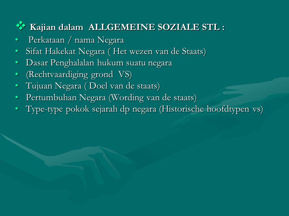  Kajian dalam ALLGEMEINE SOZIALE STL : Perkataan / nama Negara Perkataan / nama Negara Sifat Hakekat Negara ( Het wezen van de Staats)Sifat Hakekat N