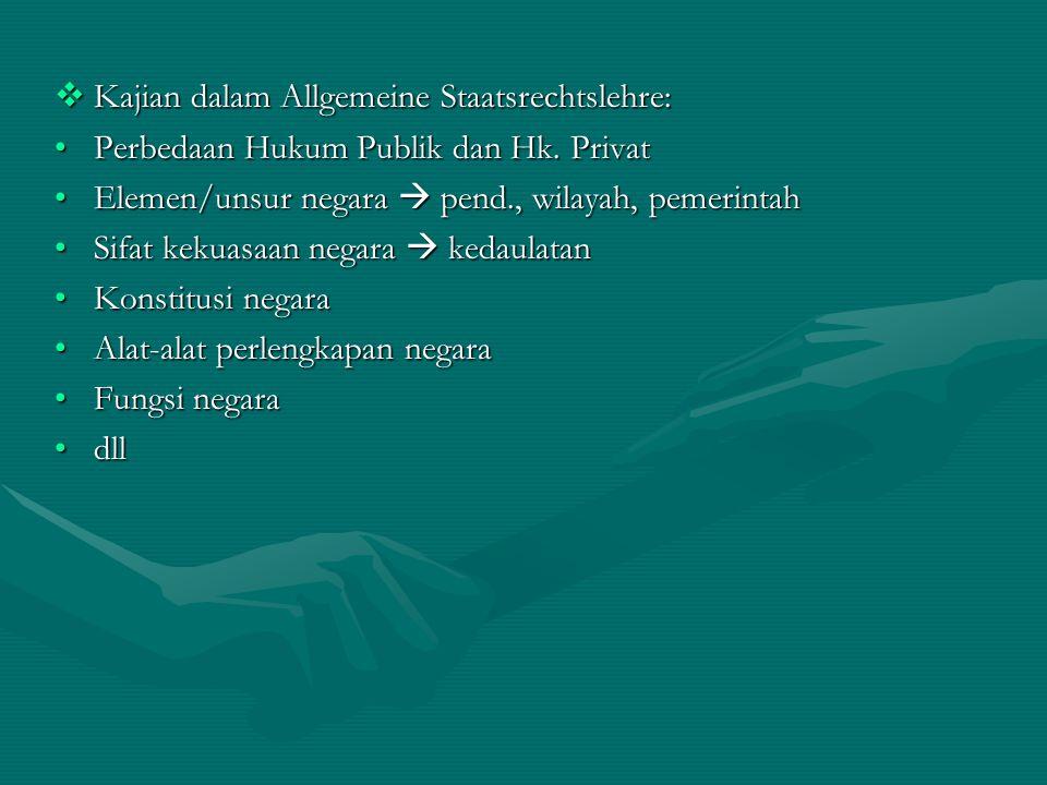  Kajian dalam Allgemeine Staatsrechtslehre: Perbedaan Hukum Publik dan Hk. PrivatPerbedaan Hukum Publik dan Hk. Privat Elemen/unsur negara  pend., w