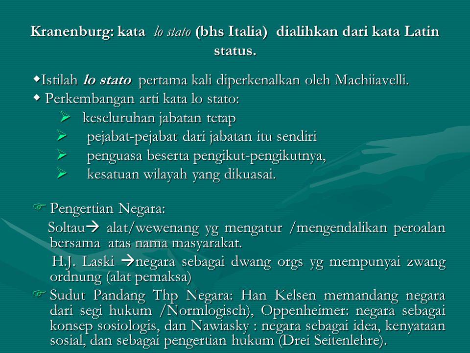 Kranenburg: kata lo stato (bhs Italia) dialihkan dari kata Latin status.  Istilah lo stato pertama kali diperkenalkan oleh Machiiavelli.  Perkembang