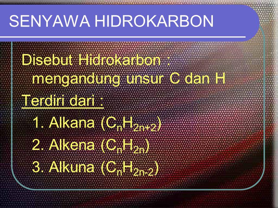 ALKANA Hidrokarbon jenuh (alkana rantai lurus dan siklo/cincin alkana) Disebut golongan parafin : affinitas kecil (=sedikit gaya gabung) Sukar bereaksi C1 – C4 : pada t dan p normal adalah gas C4 – C17 : pada t dan p normal adalah cair > C18 : pada t dan p normal adalah padat Titik didih makin tinggi : terhadap penambahan unsur C Jumlah atom C sama : yang bercabang mempunyai TD rendah Kelarutan : mudah larut dalam pelarut non polar BJ naik dengan penambahan jumlah unsur C Sumber utama gas alam dan petrolium