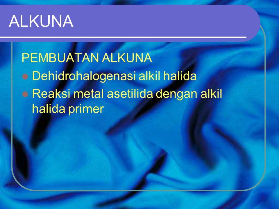 ALKUNA PEMBUATAN ALKUNA Dehidrohalogenasi alkil halida Reaksi metal asetilida dengan alkil halida primer