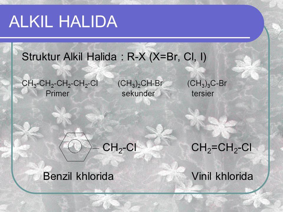 ALKIL HALIDA Struktur Alkil Halida : R-X (X=Br, Cl, I) CH 3 -CH 2 -CH 2 -CH 2 -Cl (CH 3 ) 2 CH-Br (CH 3 ) 3 C-Br Primer sekundertersier CH 2 -Cl CH 2 =CH 2 -Cl Benzil khloridaVinil khlorida