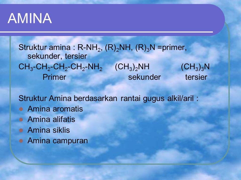 AMINA Struktur amina : R-NH 2, (R) 2 NH, (R) 3 N =primer, sekunder, tersier CH 3 -CH 2 -CH 2 -CH 2 -NH 2 (CH 3 ) 2 NH (CH 3 ) 3 N Primer sekunder tersier Struktur Amina berdasarkan rantai gugus alkil/aril : Amina aromatis Amina alifatis Amina siklis Amina campuran