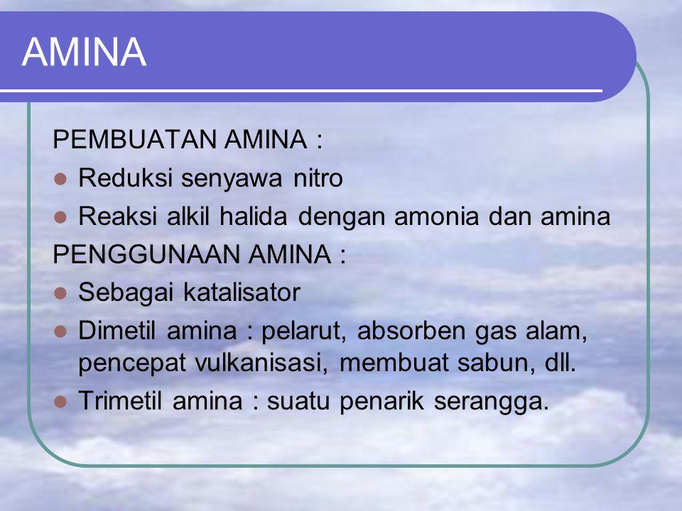 AMINA PEMBUATAN AMINA : Reduksi senyawa nitro Reaksi alkil halida dengan amonia dan amina PENGGUNAAN AMINA : Sebagai katalisator Dimetil amina : pelarut, absorben gas alam, pencepat vulkanisasi, membuat sabun, dll.