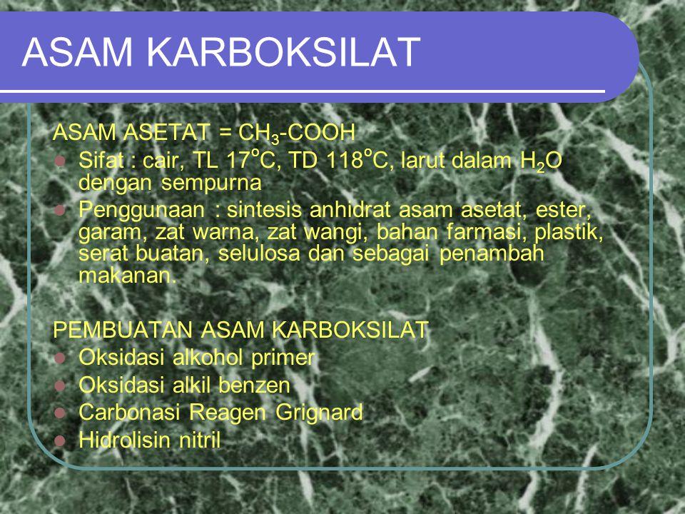 ASAM KARBOKSILAT ASAM ASETAT = CH 3 -COOH Sifat : cair, TL 17 o C, TD 118 o C, larut dalam H 2 O dengan sempurna Penggunaan : sintesis anhidrat asam asetat, ester, garam, zat warna, zat wangi, bahan farmasi, plastik, serat buatan, selulosa dan sebagai penambah makanan.