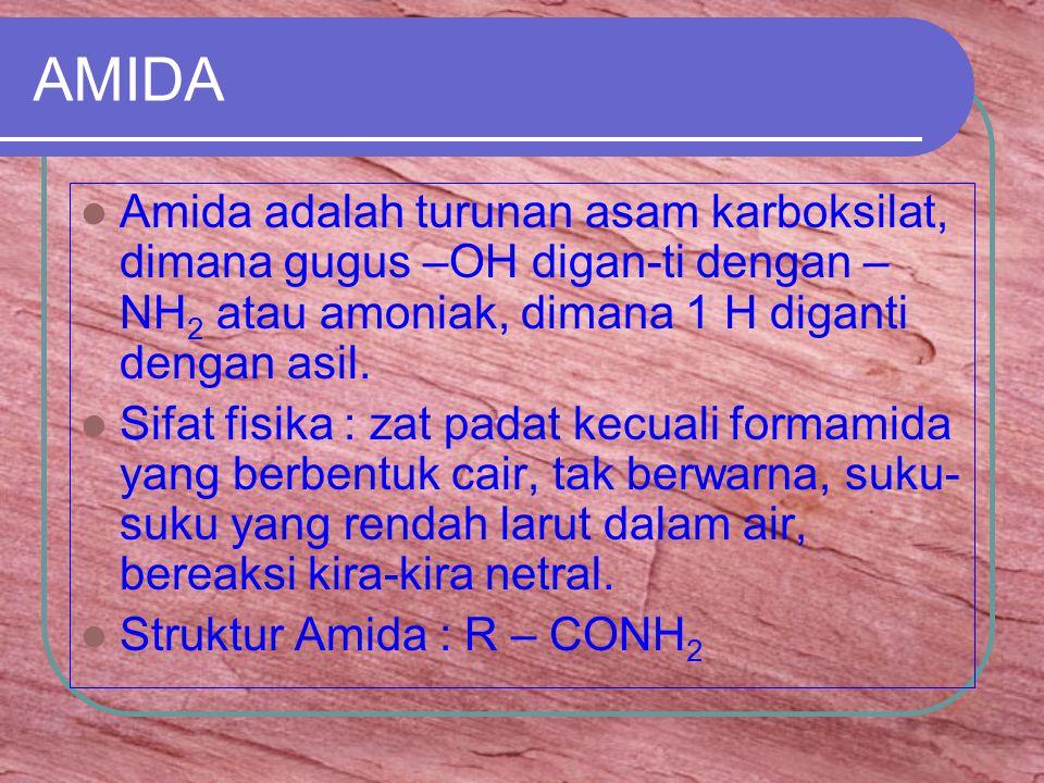 AMIDA Amida adalah turunan asam karboksilat, dimana gugus –OH digan-ti dengan – NH 2 atau amoniak, dimana 1 H diganti dengan asil.