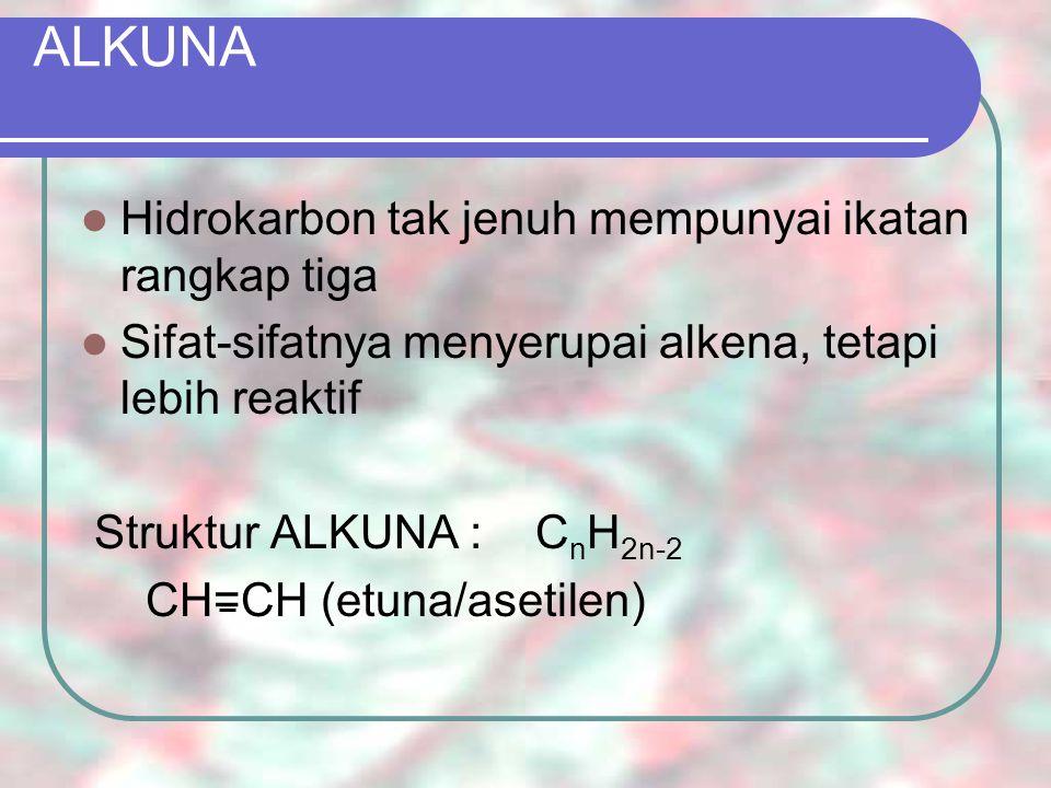 ALKUNA ETUNA = ASETILEN => CH=CH Pembuatan : CaC 2 + H 2 O ------  C 2 H 2 + Ca(OH) 2 Sifat-sifat : Suatu senyawaan endoterm, maka mudah meledak Suatu gas, tak berwarna, baunya khas Penggunaan etuna : Pada pengelasan : dibakar dengan O 2 memberi suhu yang tinggi (+- 3000 o C), dipakai untuk mengelas besi dan baja Untuk penerangan Untuk sintesis senyawa lain