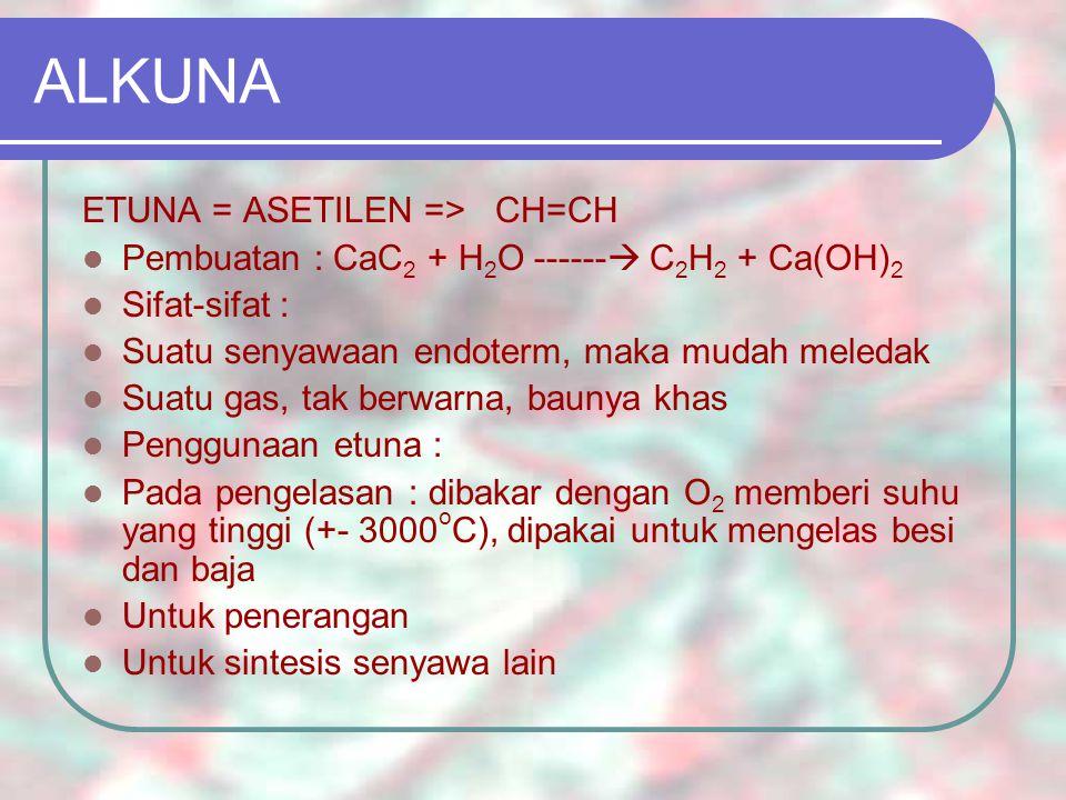 ETER Struktur eter : R – O – R CH 3 -CH 2 -O-CH 2 -CH 3 (dietil eter) CH 3 -CH 2 -O-C 6 H 5 (fenil etil eter) PEMBUATAN ETER : Sintesis Williamson Alkoksi mercurasi – demercurasi PENGGUNAAN ETER : Dietil eter : sbg obat bius umum, pelarut dari minyak, dsb.