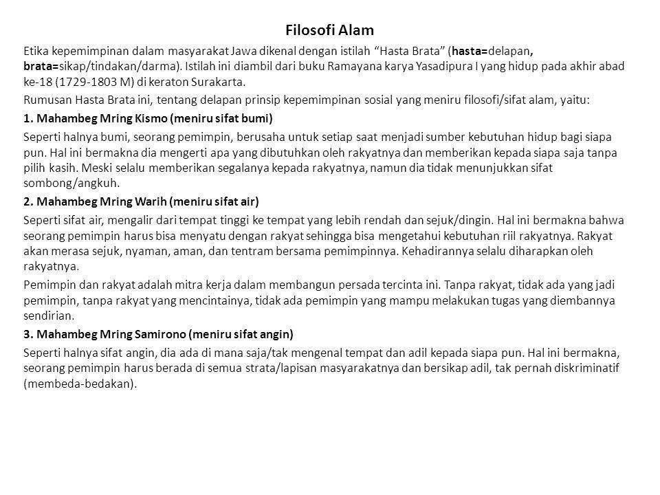 Filosofi Alam Etika kepemimpinan dalam masyarakat Jawa dikenal dengan istilah Hasta Brata (hasta=delapan, brata=sikap/tindakan/darma).