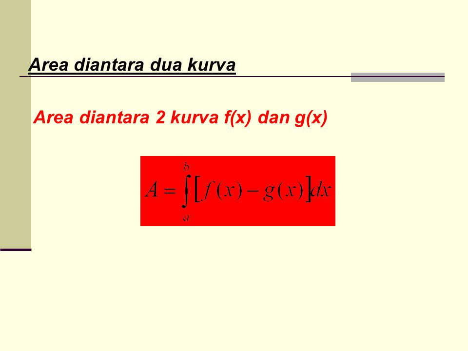 Area diantara dua kurva Area diantara 2 kurva f(x) dan g(x)