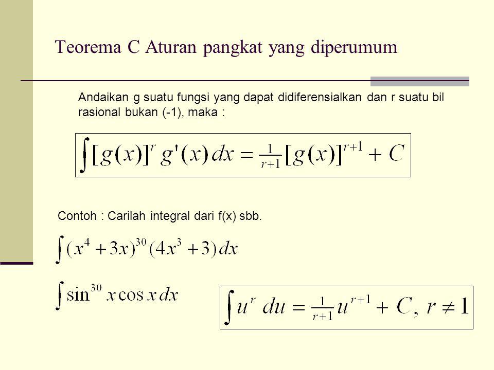 Integral Tentu Teorema Kalkulus yg penting Jika fungsi f(x) kontinu pada interval a ≤ x ≤ b, maka dimana F(x) adalah integral dari fungsi f(x) pada a ≤ x ≤ b.