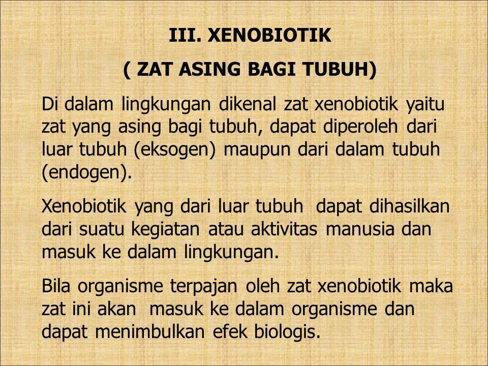 III. XENOBIOTIK ( ZAT ASING BAGI TUBUH) Di dalam lingkungan dikenal zat xenobiotik yaitu zat yang asing bagi tubuh, dapat diperoleh dari luar tubuh (e