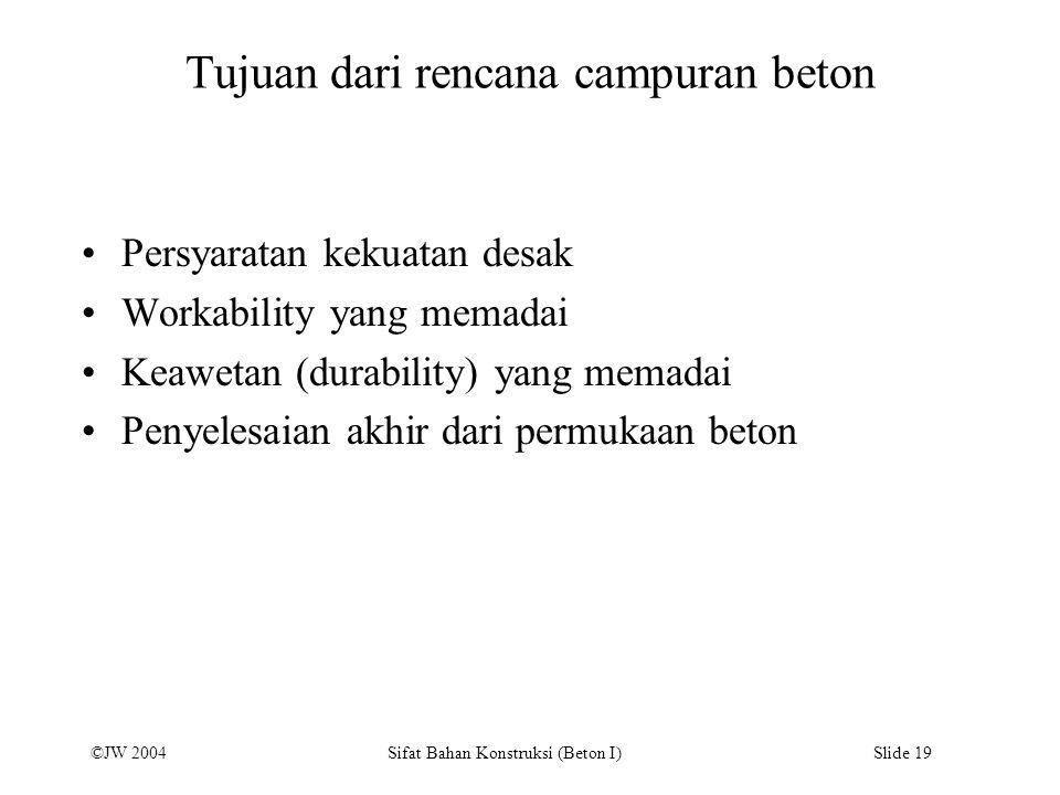 ©JW 2004 Sifat Bahan Konstruksi (Beton I) Slide 19 Tujuan dari rencana campuran beton Persyaratan kekuatan desak Workability yang memadai Keawetan (du