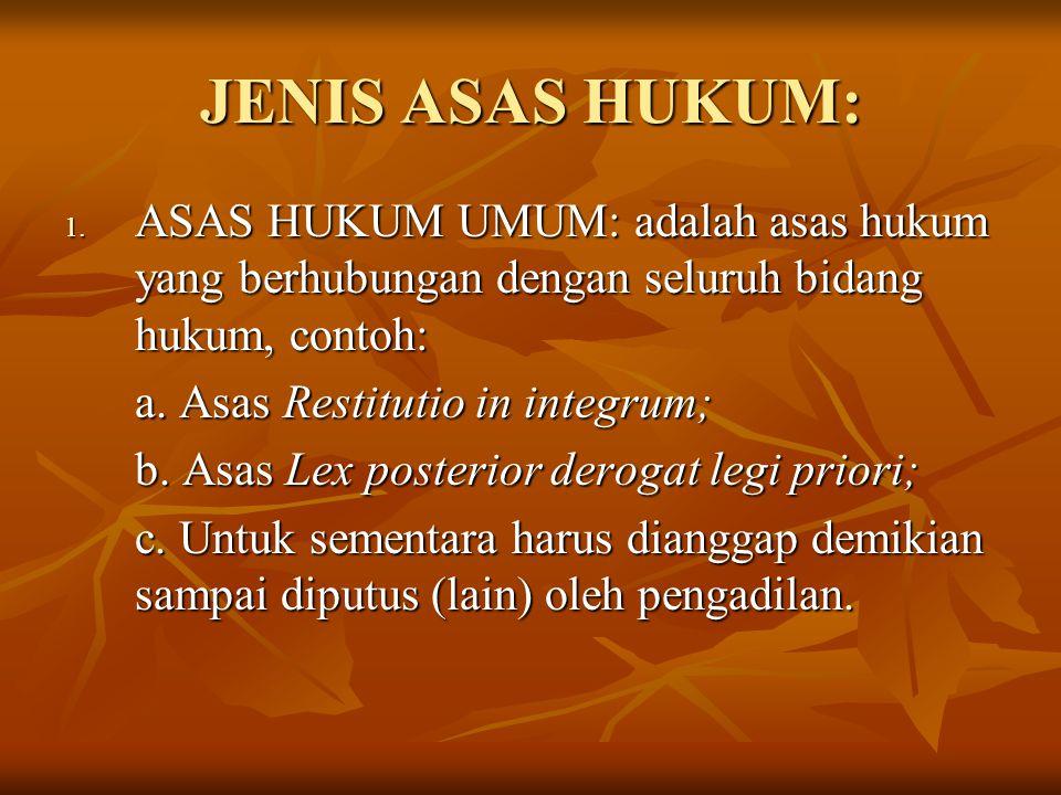 JENIS ASAS HUKUM: 1. ASAS HUKUM UMUM: adalah asas hukum yang berhubungan dengan seluruh bidang hukum, contoh: a. Asas Restitutio in integrum; a. Asas