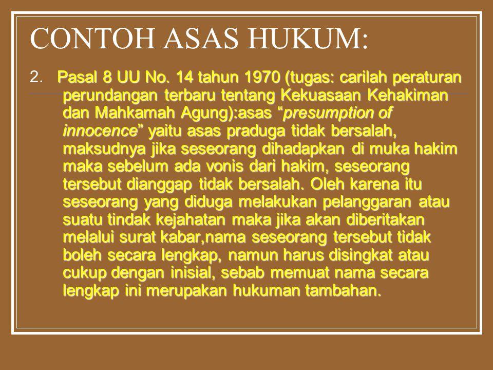 "CONTOH ASAS HUKUM: Pasal 8 UU No. 14 tahun 1970 (tugas: carilah peraturan perundangan terbaru tentang Kekuasaan Kehakiman dan Mahkamah Agung):asas ""pr"