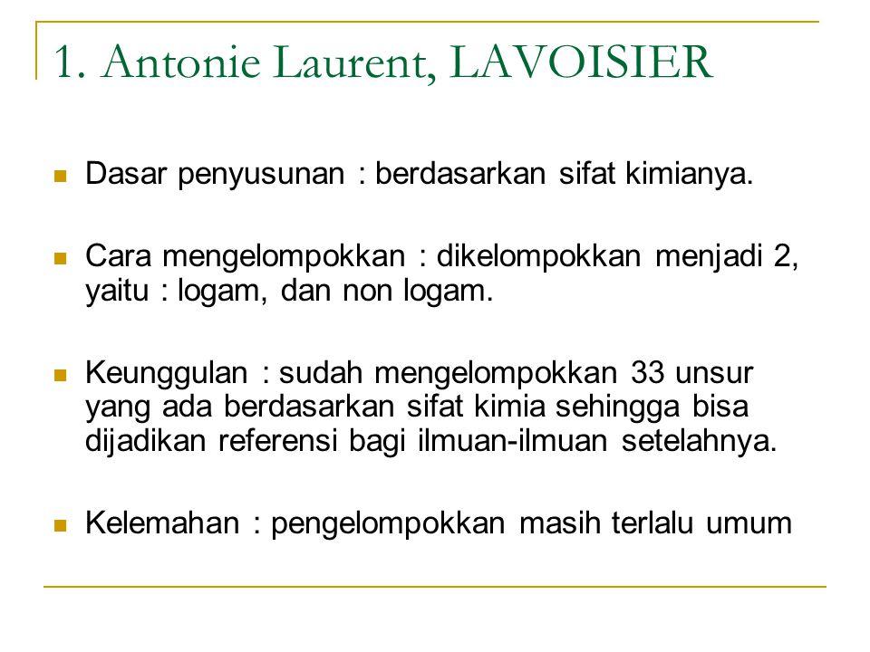 1. Antonie Laurent, LAVOISIER Dasar penyusunan : berdasarkan sifat kimianya. Cara mengelompokkan : dikelompokkan menjadi 2, yaitu : logam, dan non log