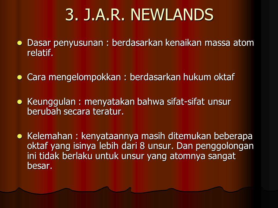 3. J.A.R. NEWLANDS Dasar penyusunan : berdasarkan kenaikan massa atom relatif. Dasar penyusunan : berdasarkan kenaikan massa atom relatif. Cara mengel