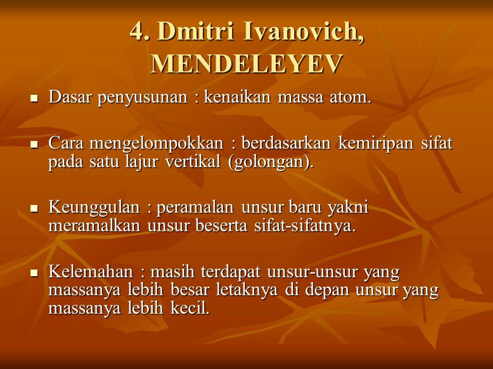 4. Dmitri Ivanovich, MENDELEYEV Dasar penyusunan : kenaikan massa atom. Dasar penyusunan : kenaikan massa atom. Cara mengelompokkan : berdasarkan kemi