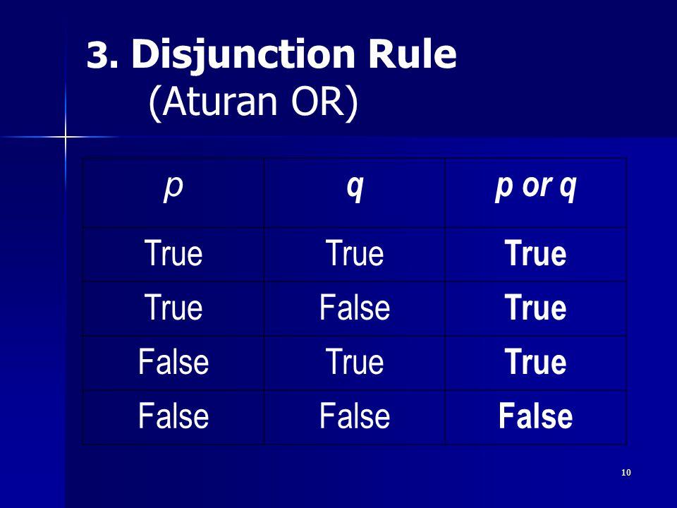 10 3. Disjunction Rule (Aturan OR) p qp or q True False True FalseTrue False