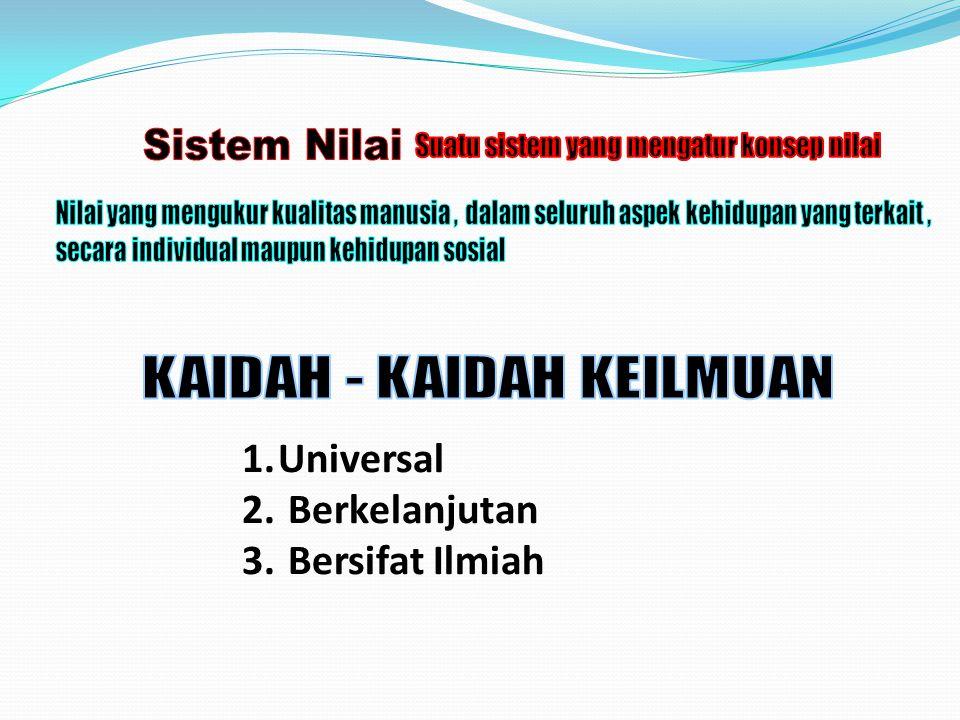 1.Universal 2. Berkelanjutan 3. Bersifat Ilmiah
