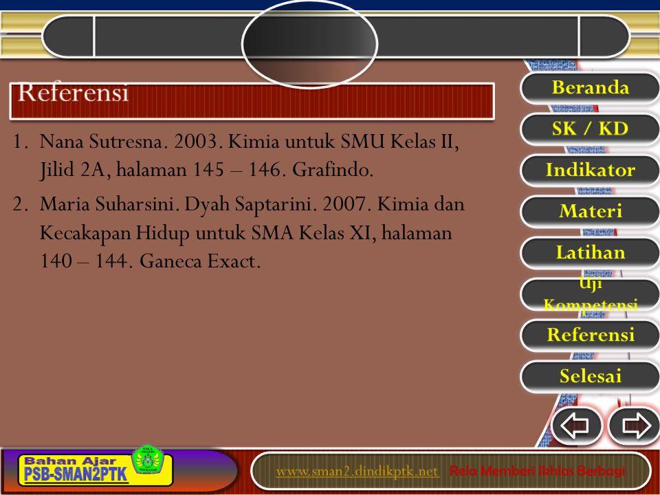 1. Nana Sutresna. 2003. Kimia untuk SMU Kelas II, Jilid 2A, halaman 145 – 146. Grafindo. 2. Maria Suharsini. Dyah Saptarini. 2007. Kimia dan Kecakapan