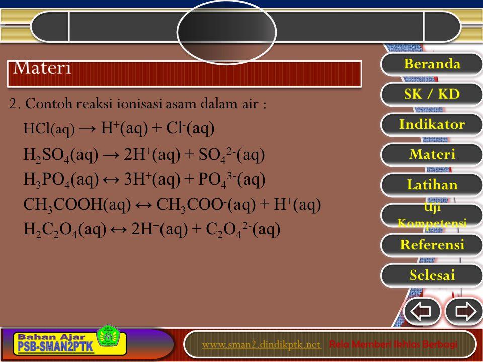 2. Contoh reaksi ionisasi asam dalam air : HCl(aq) → H + (aq) + Cl - (aq) H 2 SO 4 (aq) → 2H + (aq) + SO 4 2- (aq) H 3 PO 4 (aq) ↔ 3H + (aq) + PO 4 3-