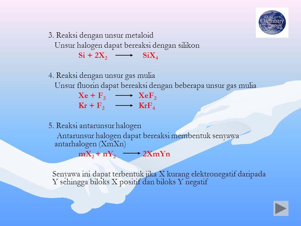 3. Reaksi dengan unsur metaloid Unsur halogen dapat bereaksi dengan silikon Si + 2X 2 SiX 4 4. Reaksi dengan unsur gas mulia Unsur fluorin dapat berea