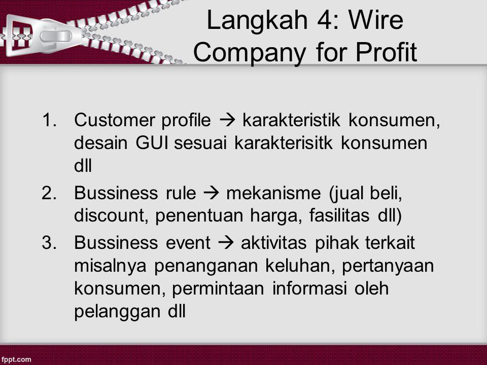 Langkah 4: Wire Company for Profit 1.Customer profile  karakteristik konsumen, desain GUI sesuai karakterisitk konsumen dll 2.Bussiness rule  mekanisme (jual beli, discount, penentuan harga, fasilitas dll) 3.Bussiness event  aktivitas pihak terkait misalnya penanganan keluhan, pertanyaan konsumen, permintaan informasi oleh pelanggan dll