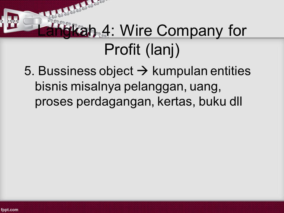 Langkah 4: Wire Company for Profit (lanj) 5.