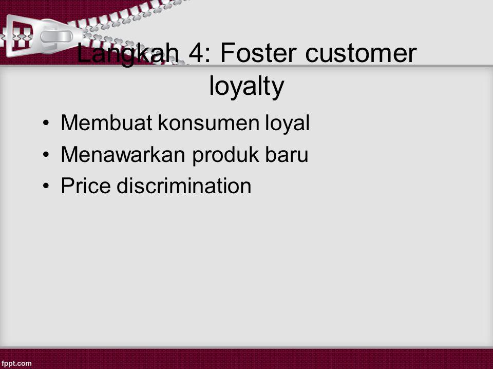 Langkah 4: Foster customer loyalty Membuat konsumen loyal Menawarkan produk baru Price discrimination