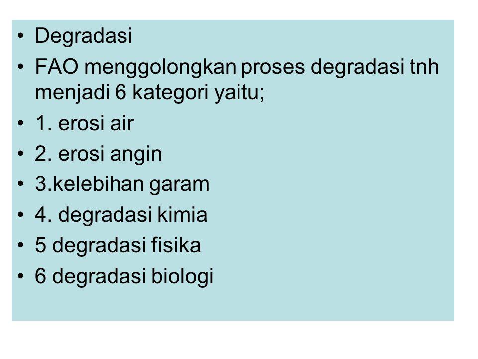 Degradasi FAO menggolongkan proses degradasi tnh menjadi 6 kategori yaitu; 1. erosi air 2. erosi angin 3.kelebihan garam 4. degradasi kimia 5 degradas