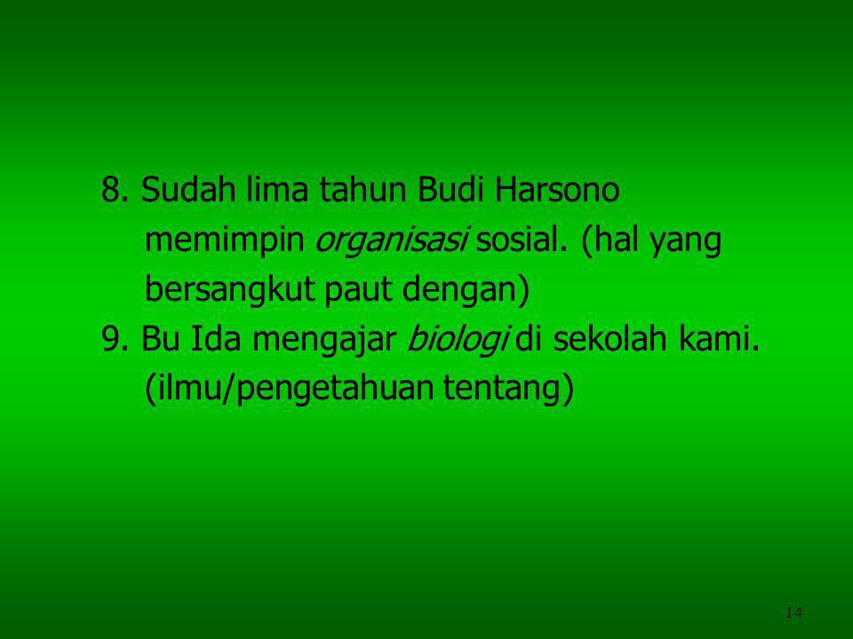 14 8.Sudah lima tahun Budi Harsono memimpin organisasi sosial.