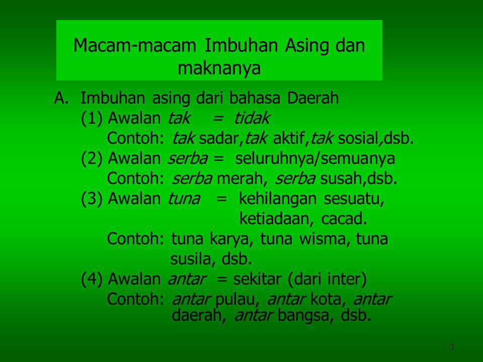 3 Macam-macam Imbuhan Asing dan maknanya A.