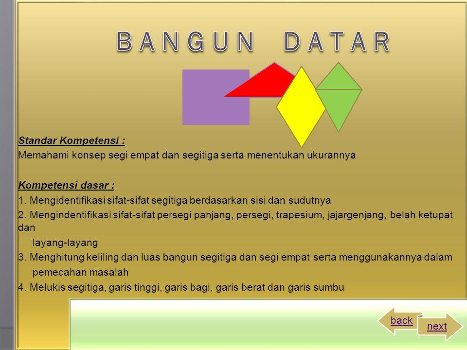Standar Kompetensi : Memahami konsep segi empat dan segitiga serta menentukan ukurannya Kompetensi dasar : 1.