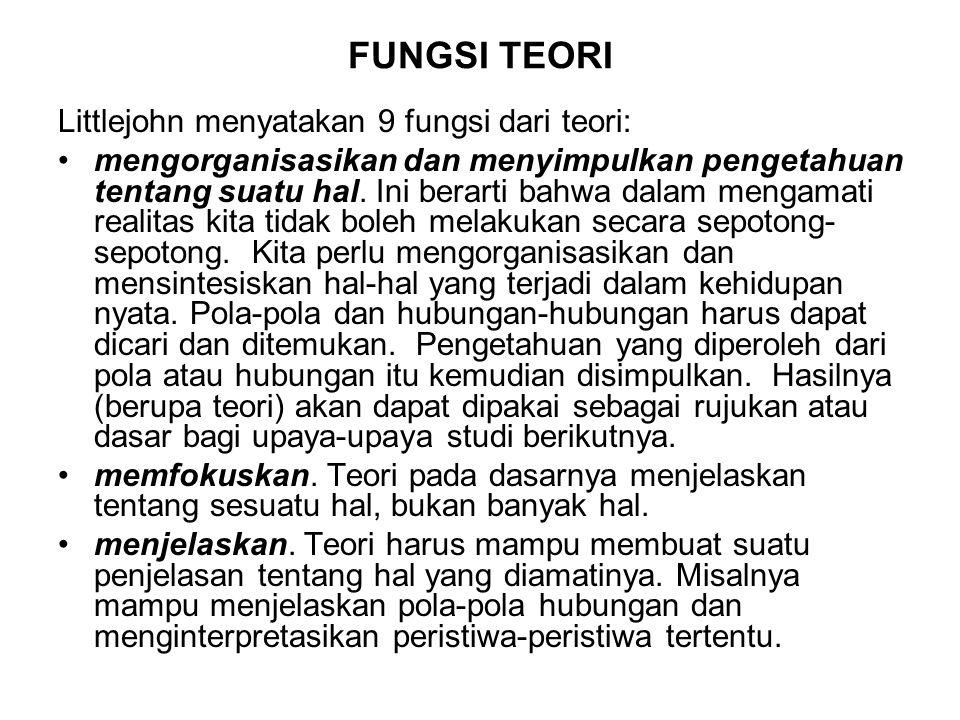 FUNGSI TEORI Littlejohn menyatakan 9 fungsi dari teori: mengorganisasikan dan menyimpulkan pengetahuan tentang suatu hal. Ini berarti bahwa dalam meng