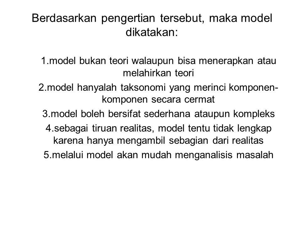 Berdasarkan pengertian tersebut, maka model dikatakan: 1.model bukan teori walaupun bisa menerapkan atau melahirkan teori 2.model hanyalah taksonomi y
