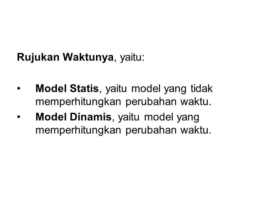 Rujukan Waktunya, yaitu: Model Statis, yaitu model yang tidak memperhitungkan perubahan waktu. Model Dinamis, yaitu model yang memperhitungkan perubah
