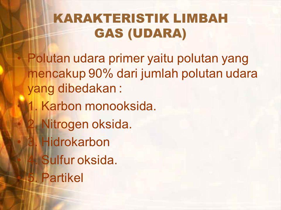 KARAKTERISTIK LIMBAH GAS (UDARA) Polutan udara primer yaitu polutan yang mencakup 90% dari jumlah polutan udara yang dibedakan : 1. Karbon monooksida.