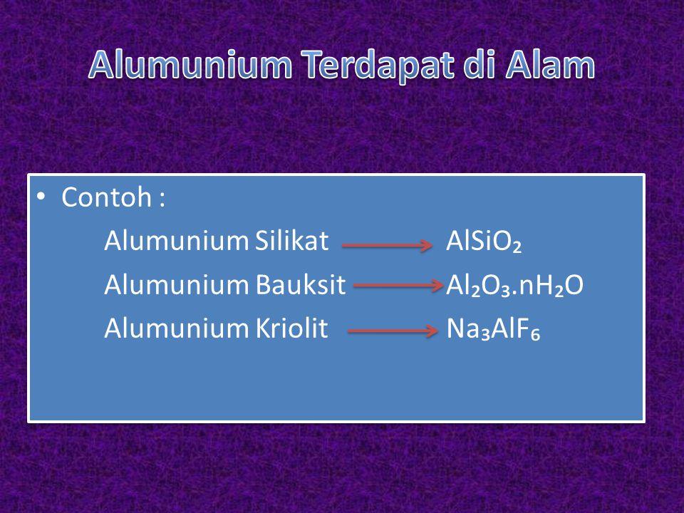 Contoh : Alumunium SilikatAlSiO₂ Alumunium BauksitAl₂O₃.nH₂O Alumunium KriolitNa₃AlF₆ Contoh : Alumunium SilikatAlSiO₂ Alumunium BauksitAl₂O₃.nH₂O Alumunium KriolitNa₃AlF₆