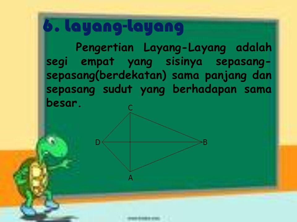 5. Trapesium Pengertian Trapesium adalah Segi empat yang dua buah sisinya sejajar. *Jenis-jenisnya : Trapesium sebarang, trapesium siku-siku, trapesiu