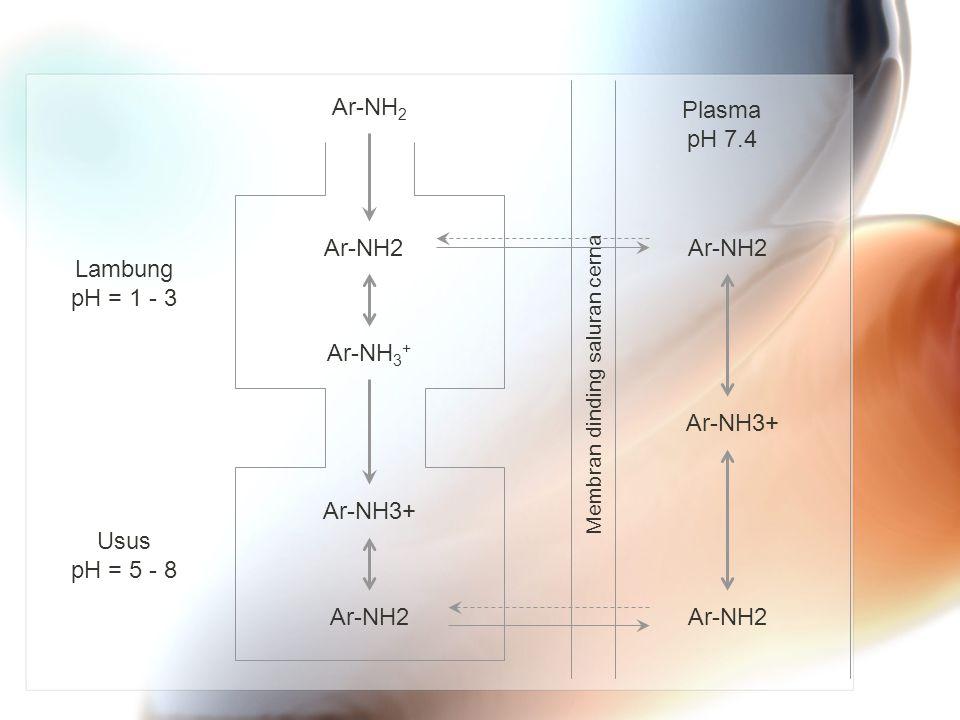 Ar-NH 2 Ar-NH 3 + Ar-NH2 Ar-NH3+ Membran dinding saluran cerna Plasma pH 7.4 Ar-NH2 Ar-NH3+ Lambung pH = 1 - 3 Usus pH = 5 - 8
