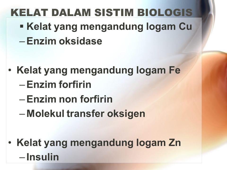 KELAT DALAM SISTIM BIOLOGIS  Kelat yang mengandung logam Cu –Enzim oksidase Kelat yang mengandung logam Fe –Enzim forfirin –Enzim non forfirin –Molek