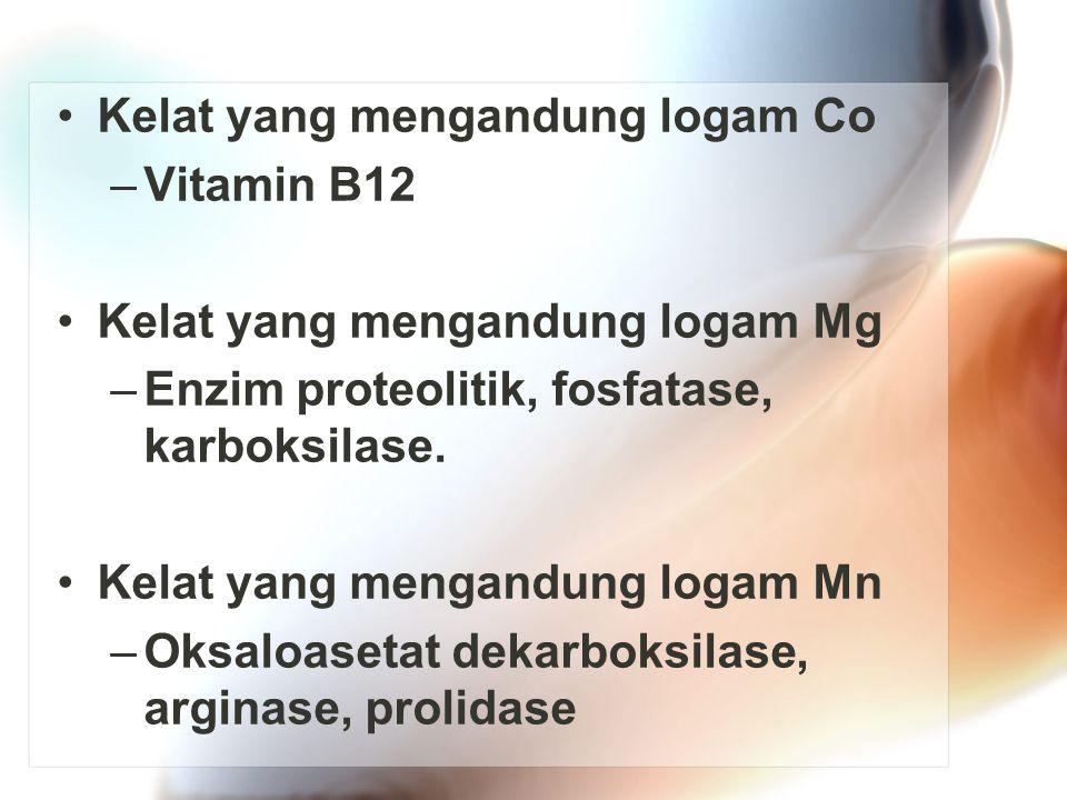 Kelat yang mengandung logam Co –Vitamin B12 Kelat yang mengandung logam Mg –Enzim proteolitik, fosfatase, karboksilase. Kelat yang mengandung logam Mn