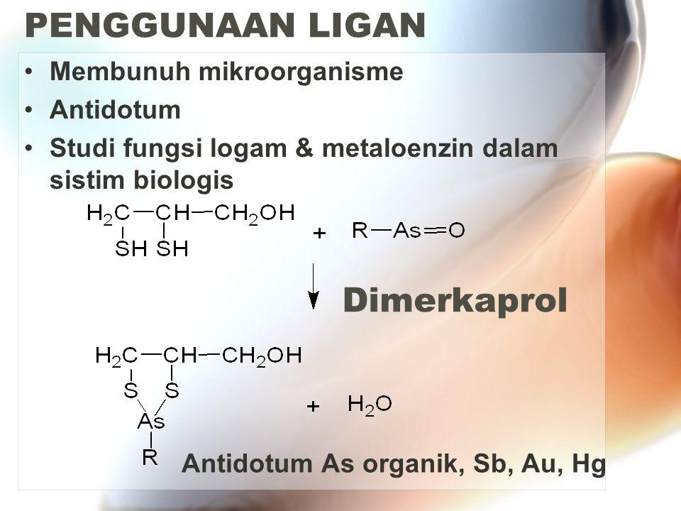 PENGGUNAAN LIGAN Membunuh mikroorganisme Antidotum Studi fungsi logam & metaloenzin dalam sistim biologis Dimerkaprol Antidotum As organik, Sb, Au, Hg