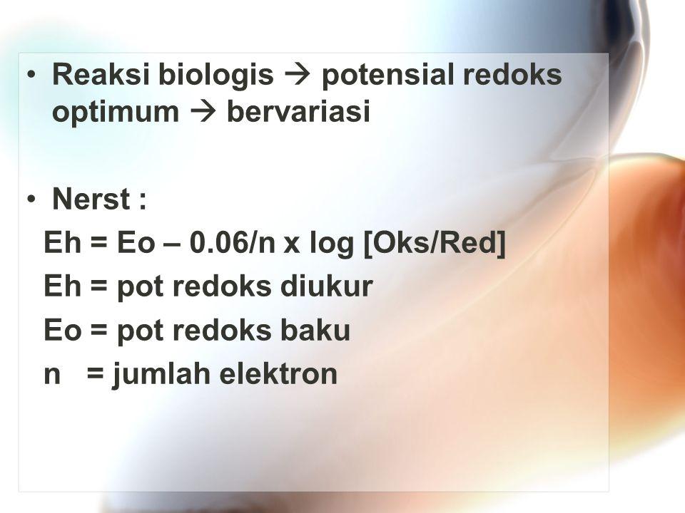 Reaksi biologis  potensial redoks optimum  bervariasi Nerst : Eh = Eo – 0.06/n x log [Oks/Red] Eh = pot redoks diukur Eo = pot redoks baku n = jumlah elektron