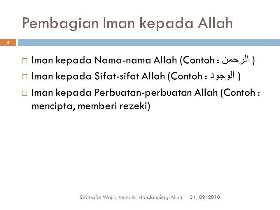 Pembagian Iman kepada Allah  Iman kepada Nama-nama Allah (Contoh : الرحمن )  Iman kepada Sifat-sifat Allah (Contoh : الوجود )  Iman kepada Perbuata