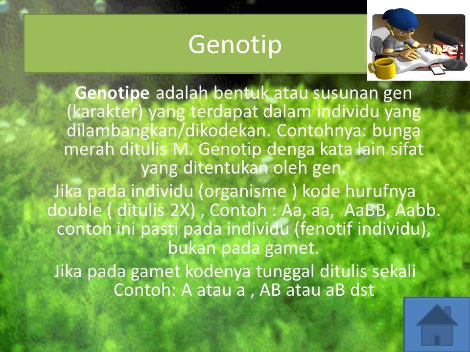 Nah, untuk mempermudah dalam mempelajari Hukum Mendel, kita harus tahu terlebih dahulu istilah-istilah yang dipergunakan dalam persilangan. GenotifFen